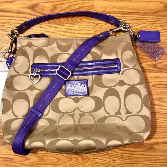 Coach Handbags - Coach Daisy Poppy Signature Sateen Satchel Bag